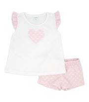 Girls White & Pink Spanish Short Set