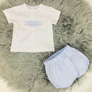 White & Sky Blue Stripe Spanish Jam Pant Set