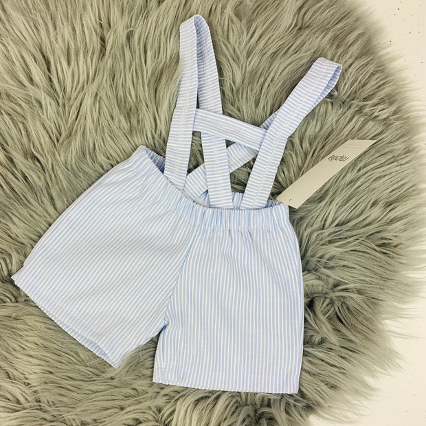 White & Sky Blue Spanish Dungaree Short