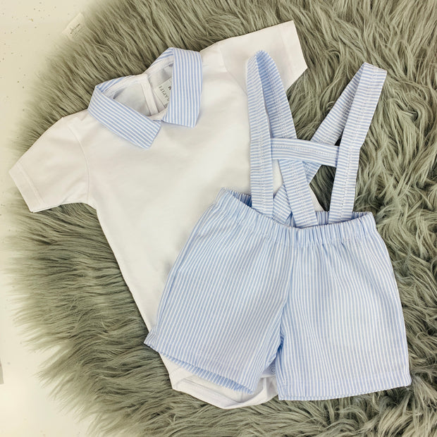 White & Sky Blue Spanish Dungaree Short Set