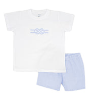 White & Sky Blue Stripe Spanish Short Set