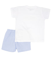 White & Sky Blue Stripe Spanish Short Set Back