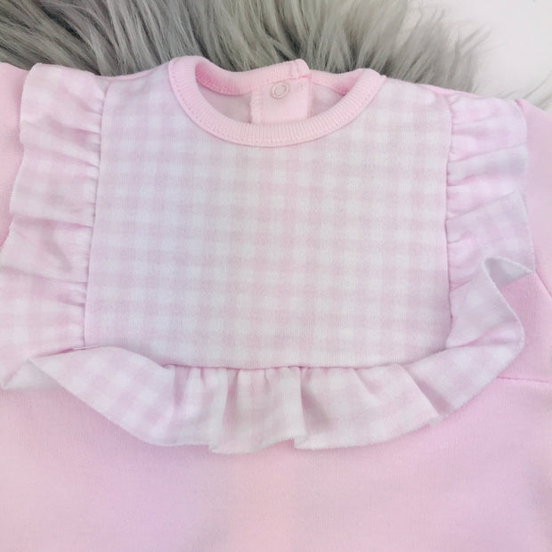 Baby Pink & White Check Spanish Sleepsuit