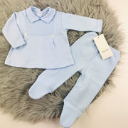 Baby Blue Ribbed Top & Leggings Two Piece Set