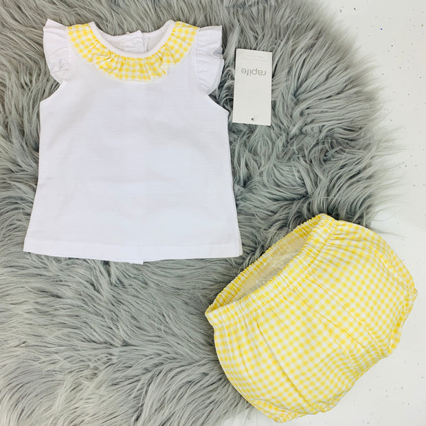 Frilly White & Yellow Gingham Spanish Jam Pants Set