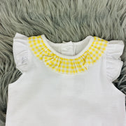 Frilly White & Yellow Gingham Top Close