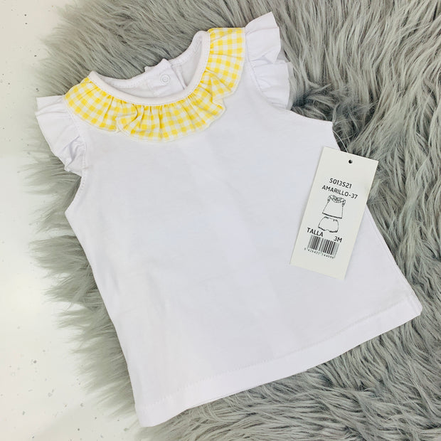Frilly White & Yellow Gingham Top