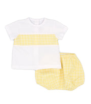 White & Yellow Gingham Spanish Jam Pants Set