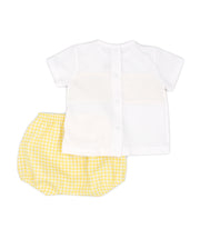 White & Yellow Gingham Spanish Jam Pants Set Back