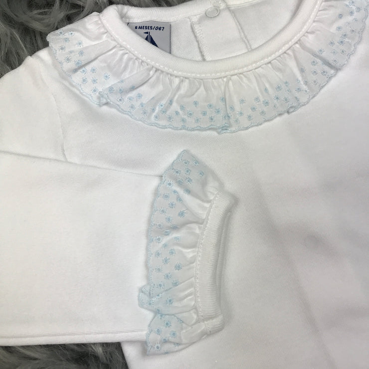 Frilly Collar Long Sleeve White Body Vest Blue Trim Collar