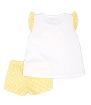 Girls Frilly White & Yellow Gingham Spanish Short Set