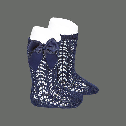Navy Blue Knee High Open Weave Spanish Bow Socks