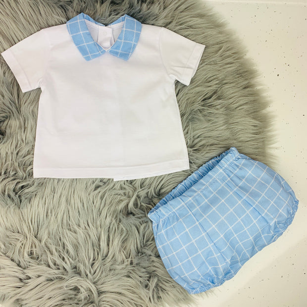 White & Blue Check Spanish Jam Pants Set