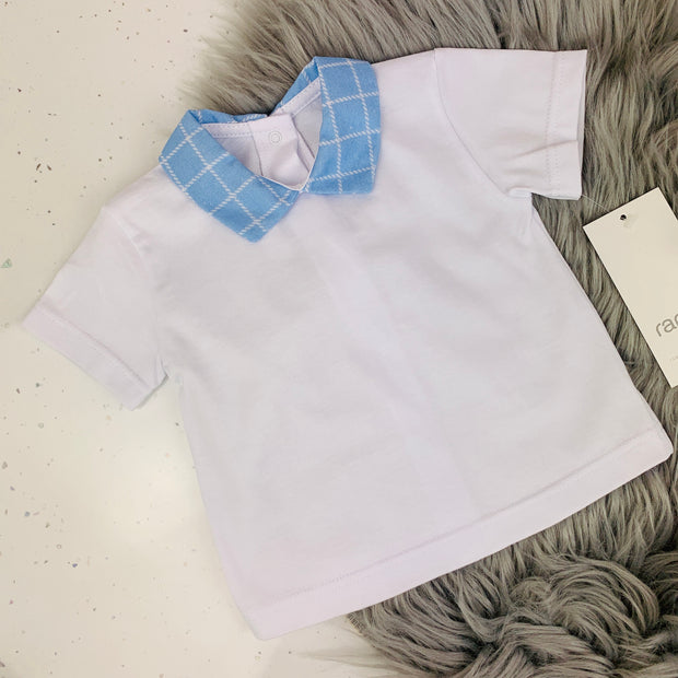White & Blue Check Spanish T Shirt