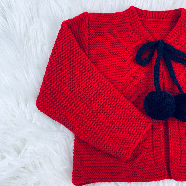 Red & Navy Blue Knitted H-Bar Pom Pom Set Close