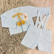 Baby Blue & Camel Knitted H-Bar Pom Pom Set