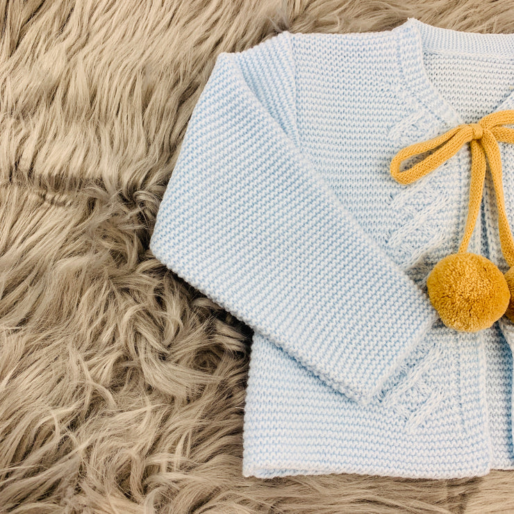Baby Blue & Camel Knitted H-Bar Pom Pom Set Top