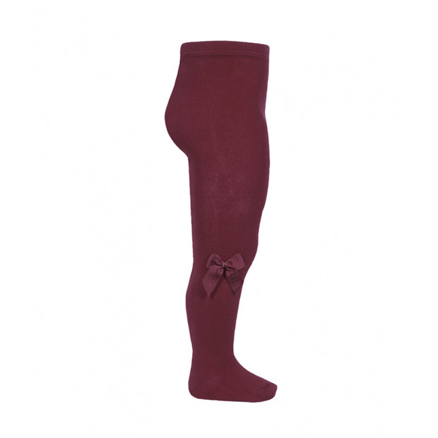 Burgundy Spanish Tights With Side Bow