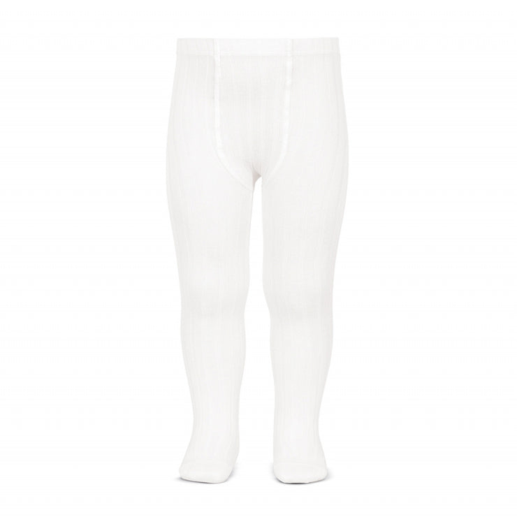 Unisex White Spanish Wide Rib Tights