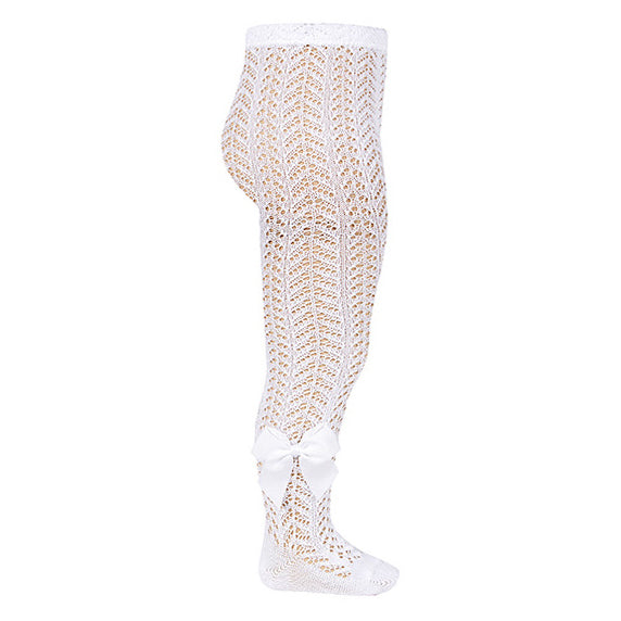 White Open Weave Pearl Tights With Grossgrain Bow