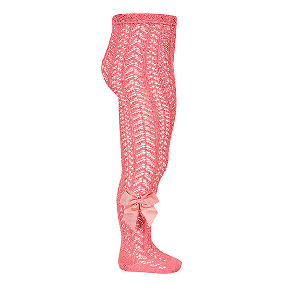 Red Open Weave Pearl Tights With Grossgrain Bow