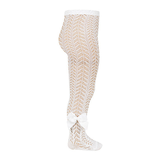 Cream Open Weave Pearl Tights With Grossgrain Bow
