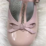 Pink Bambi Patent Leather Shoes Close