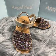 Multi Glitter Spanish Sandals close