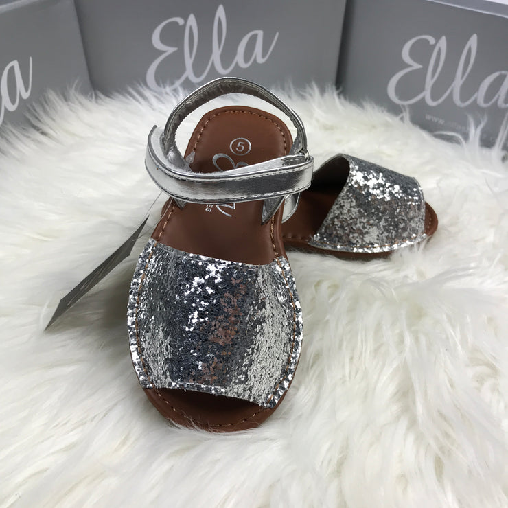 Silver Glitter Spanish Sandals Front