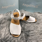 White Spanish Leather Sandals