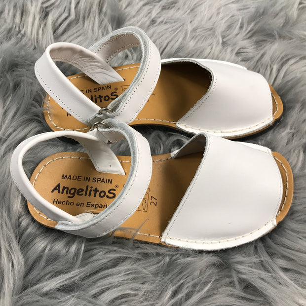 White Spanish Leather Sandals Pair