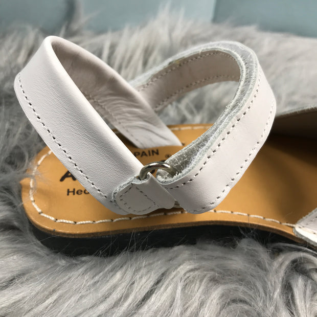 White Spanish Leather Sandals Strap