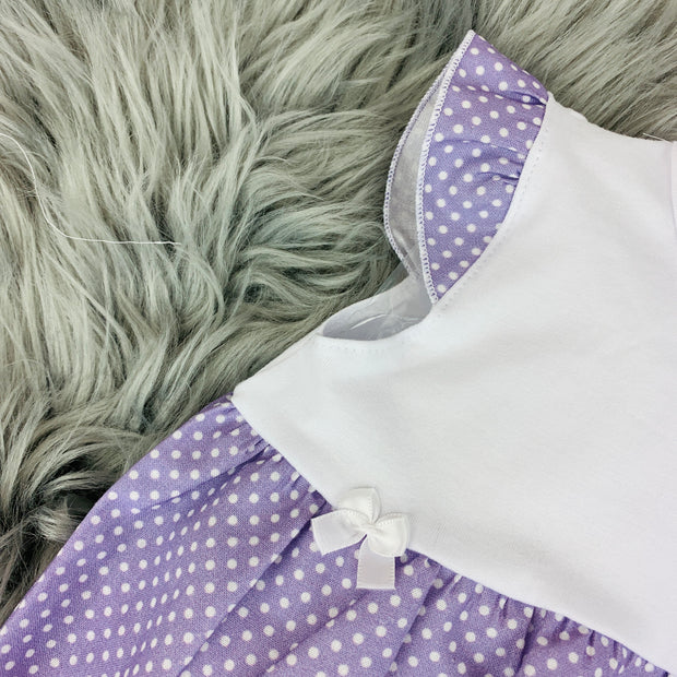 White & Lavender Spanish Romper Close