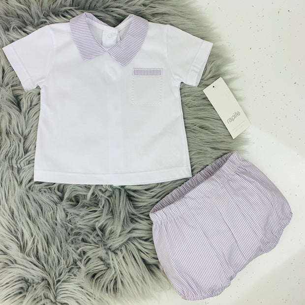 White & Lavender Spanish Jam Pants Set