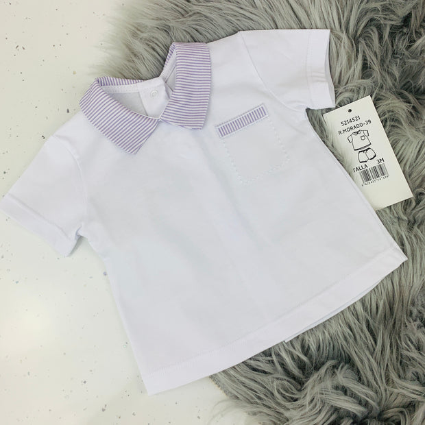 White & Lavender Spanish T Shirt