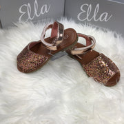 Rose Gold Glitter Spanish Sandals side
