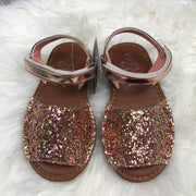 Rose Gold Glitter Spanish Sandals front