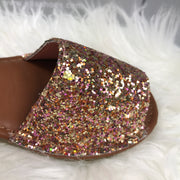 Rose Gold Glitter Spanish Sandals close