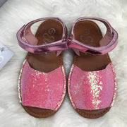 Pink Glitter Spanish Sandals Front