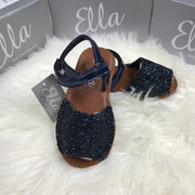Navy Blue Glitter Spanish Sandals