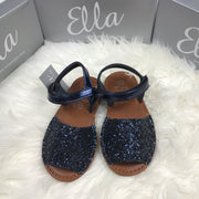 Navy Blue Glitter Spanish Sandals Front
