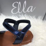 Navy Blue Glitter Spanish Sandals Strap