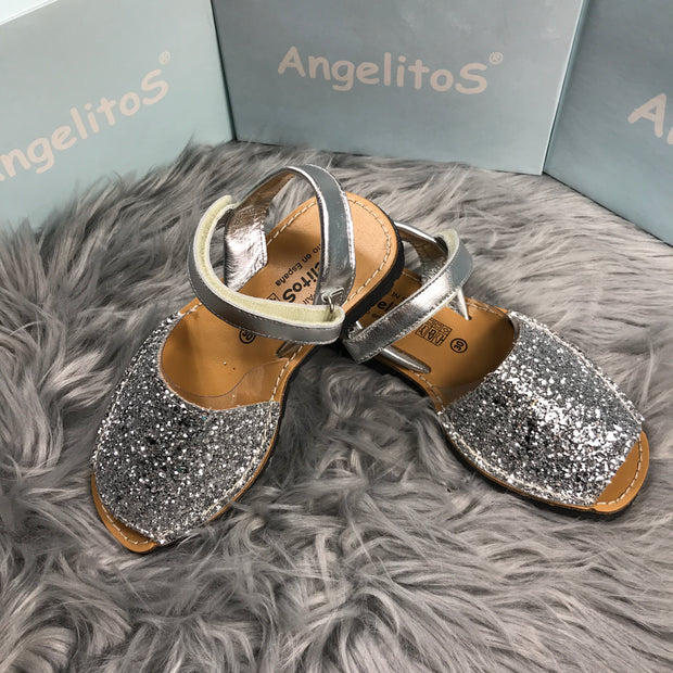 Silver Glitter Spanish Sandals side