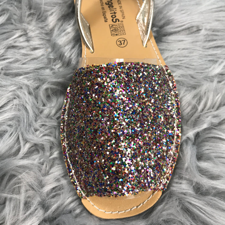 Multi Glitter Spanish Slingback Sandals close