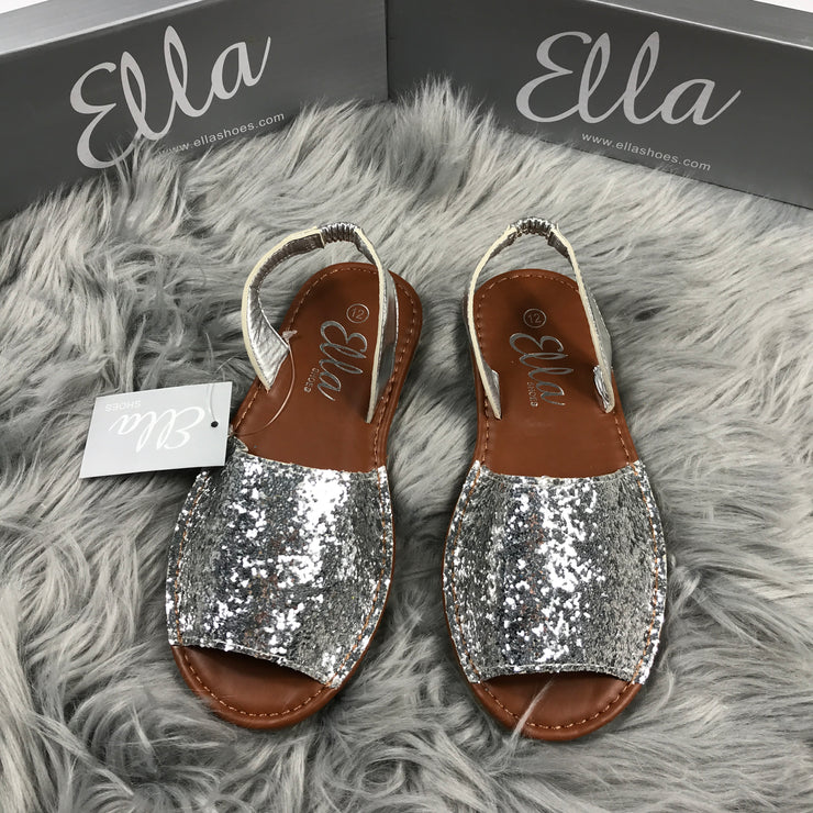 Silver Slingback Glitter Spanish Sandals front
