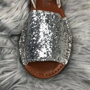 Silver Slingback Glitter Spanish Sandals close