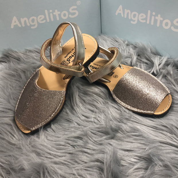 Gold Mini Glitter Spanish Sandals Side