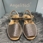 Gold Mini Glitter Spanish Sandals Front
