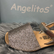 Gold Mini Glitter Spanish Sandals Close