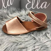 Matt Rose Gold Spanish Sandals Close